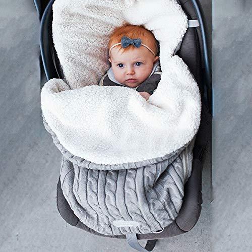 Warme Decke Neugeborenen Schlafsack, Danolt Kids Baby Schlafsack mit Kaschmir, 0–12 Monate Neugeborene, Jungen und Mädchen (Dunkelblau, Grau)