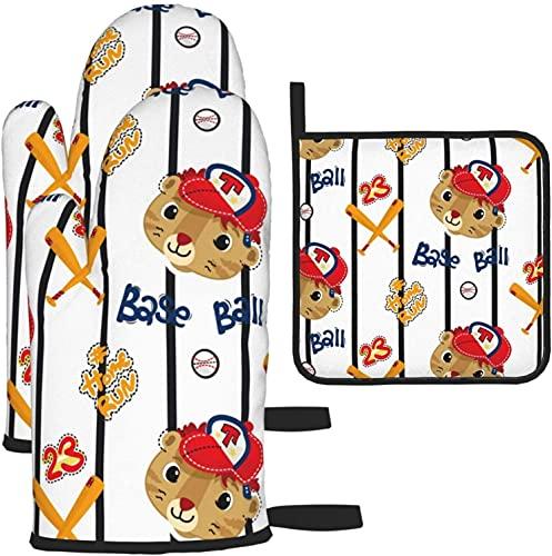MODORSAN Guantes de Horno Caliente, patrón sin Costuras, Caricatura de Cara de Tigre Lindo con Gorra de béisbol en Forro Vertical