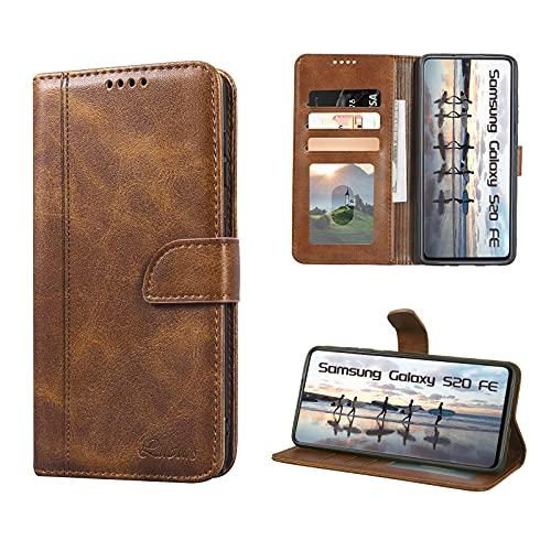 Luburs Samsung Galaxy S20 FE Hülle, Flip Tasche Handyhülle [Einzigartig Magnetverschluss] [Premium PU Leder] [Standfunktion] [Kartenfach] Schutzhülle Stoßfest case für Samsung Galaxy S20 FE
