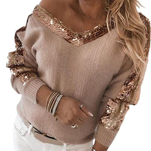 FSUYWQ Jesienno-Zimowe Koszule Damskie V Neck z Długim Rękawem Cekiny Bluzka na Jedno Ramię Kobiece Grube Casualowe Topy Uliczne M Różowy