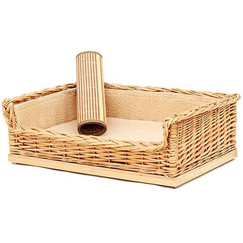 Rieten Hondenmand, Vierkante Afneembare Wasbare Rotan Hondenbank Fauteuil Modern Kattenmeubilair Met Katoenen Matras En Koele Mat,L