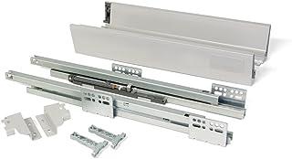EMUCA - Kit de cajón para Cocina o baño con guias de extracción Total y Cierre Suave, Altura 83mm y Profundidad 500mm, Gris