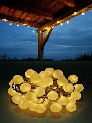 Coen Bakker LED Lichterkette Bunt oder Warmweiß Partylichterkette LEDs stabile Kugeln IP44, Länge:10 m, Farbe:Warmweiß