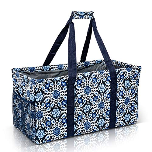 Extra Large Utility Tote Bag - Oversized Collapsible Reusable Wire Frame Rectangular Canvas Basket With Two Exterior Pockets For Beach, Pool, Laundry, Car Trunk, Storage - Blue Snowflake