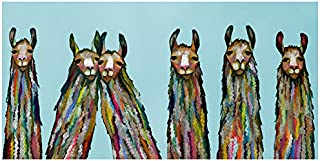 GreenBox Art + Culture GreenBox - Six Lively Llamas on Sky Blue 36x18 Canvas Wall Art, by Eli Halpin