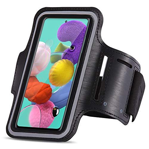 UC-Express Schutzhülle kompatibel für Samsung Galaxy A51 Jogging Handy Tasche Schwarz Sportarmband Sport Hülle Fitnesstasche Lauf Case