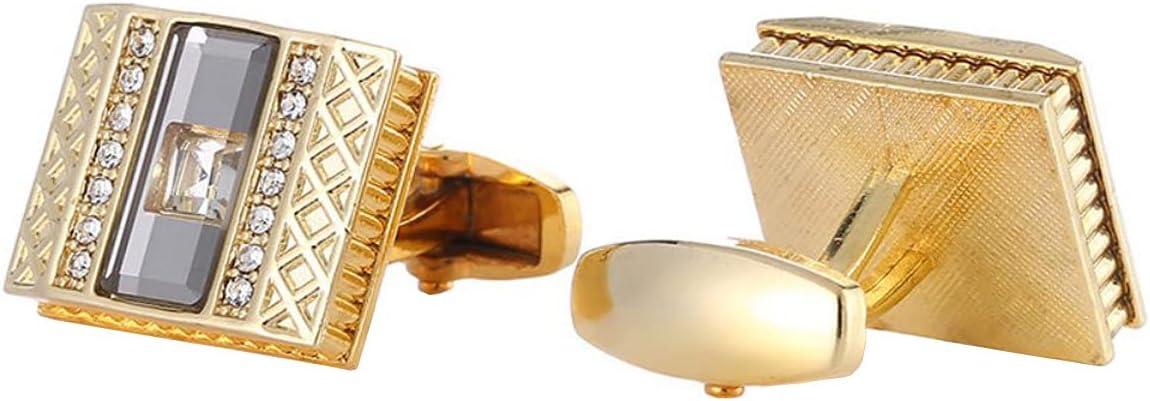 BO LAI DE Men's Cufflinks Gold Square Diamond Metal Cuff Links Shirt Cufflinks Suitable for Wedding Business Luxury Tuxedo Formal Shirts, with Gift Box