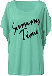 DADKA Womens Shirt Fashion Summer Plus Size Casual Off Shouder Top Printed Letters Blouse