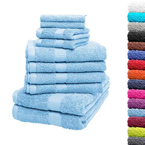 10tlg. Handtuch Set Premium 100% Baumwolle 2 Duschtücher 4 Handtücher 2 Gästetücher 2 Waschhandschuhe Farbe Hellblau