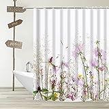 YUYASM Duschvorhang, violett, florales Muster, Frühlings-Wildblumen, Blumendekoration, Badezimmer-Gardinen mit Kunststoffhaken, 177 x 177 cm, lavendelfarben