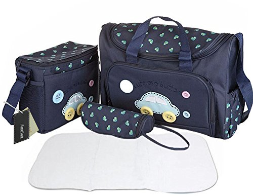 Set composto da borsa fasciatoio, borsa porta pappa, borsa porta biberon e tappetino fasciatoio, 4 pezzi in totale, in materiale impermeabile e design alla moda
