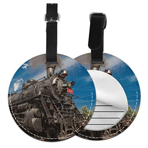 Etiquetas de Equipaje de Cuero Sintético Identificación de Nombre con Cubierta de Privacidad Trasera para Maleta de Viaje Humo del Motor de Vapor del Tren