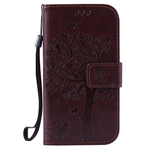 Karomenic kompatibel mit Samsung Galaxy S3 PU Leder Hülle Katze Baum Prägung Handyhülle Brieftasche Silikon Schutzhülle Klapphülle Ledertasche Ständer Wallet Flip Case Schale Etui,Brown#