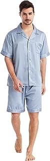 YAOMEI Mens Pyjamas Set Satin, 2021 Mens Silky Short Sleeve Nighties Couples PJ Set Sleepwear Nightwear, Lingerie Button P...