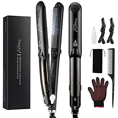 Steam Hair Straightener, Magicfly Professional Ceramic Flat Iron for Hair Straightening with Digital LCD Display, Dual Voltage, 350¨H - 450¨H Salon High Heat