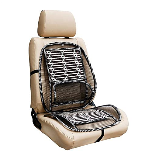 Ergonomic Bamboo Car Seat Pad- Car Seat Office Chair Bamboo Chip Cover, Summer Car Ventilate Cooling Pad with Wire Mesh Lumbar Back Suppor Massage Bamboo Silk Cushion for All Types Car Seats.