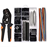Crimping Tool Kit, AWG23-14 Self-adjustable Ratchet Wire Crimper Plier Set Crimping tools Kit with 1550PCS Male and Female 2.54mm dupont Terminals Crimping Connectors Wire End Ferrules