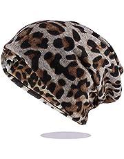 QNN Sombreros de Invierno, Beanie Hat Hip Hop Mujeres Moda Estampado de Leopardo Gorro Cálido Gorras para Niña Dot Primavera Otoño Algodón Gorros Sombreros Bufanda,Blanco