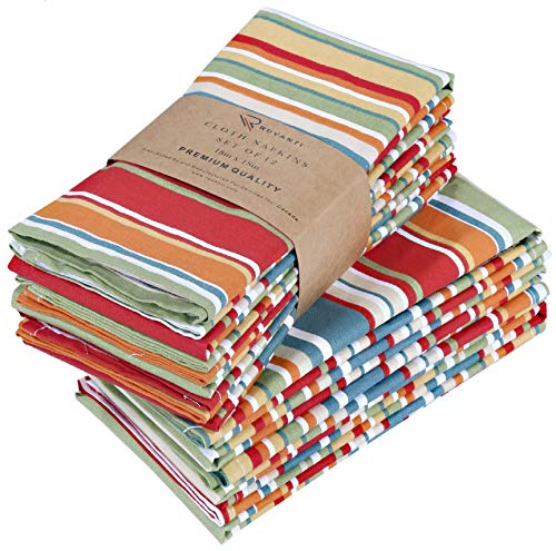 Ruvanti Cloth Napkins 12 Pack 20X20 Inch Dinner Table Napkins,Soft & Comfortable 100% Cotton Napkins.Red & Orange Reusable Linen Napkins for Christmas/Thanksgiving Dinners,Weddings & Cocktail Parties