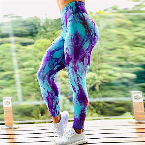 quming Fitness Gran EláSticos Mallas,Las Polainas de Las Mujeres ejercitan los Pantalones de la Yoga, Pantalones atléticos de Cintura Alta-Blue_L
