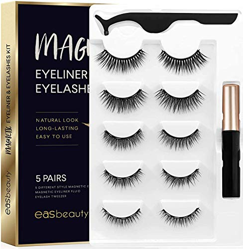 easbeauty 2020 Upgraded Magnetic Eyeliner and Eyelashes Kit, Magnetic Eyelashes with Eyeliner, False Lashes 5 Pairs with Tweezers, Easy to Wear