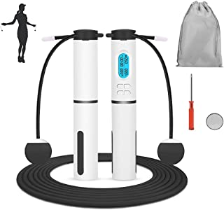 SlowTon Jump Rope, Weighted Counting Jump Rope, Adjustable Weight Time Rotations Skipping Rope With Calorie Counter, Cordl...