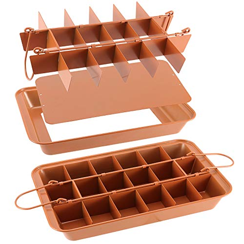 ZOENHOU 2 PCS 12 x 8 x 2 Inch 18 Lattice Nonstick Edge Brownie Pans Tray with Dividers, Brownie Baking Tray Movable Bottom Plate Brownie Pans for Oven Baking