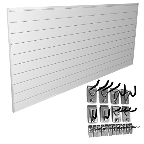 Proslat 33008 Basic Bundle with Slat Wall Panels and Hook Kit, White