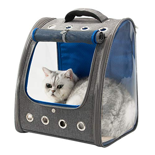 HIPIPET Cat Backpack for Puppies Small Dogs and Pets Foldable Ventilated and Breathable for Travel Hiking Outdoor Use Airline Approved(Gray+Blue)