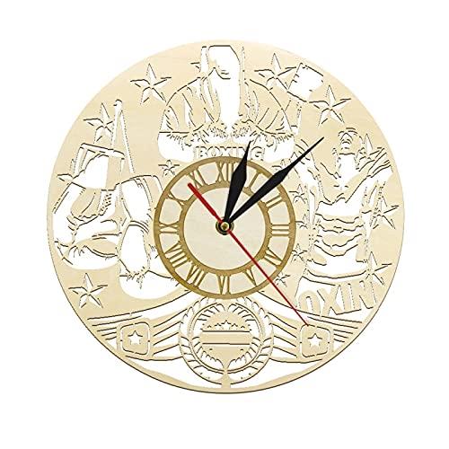 Reloj de Pared Boxeo Reloj de Pared Vintage de Madera Reloj Deportivo de Boxeo Entrenamiento físico Arte de la Pared Lucha marcial Decoración del hogar Reloj de Pared rústico