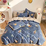 BlueBlue Astronaut Duvet Cover Set Twin 100% Cotton Bedding for Kids Boys Girls Teens Space Galaxy Rocket Star Constellation on Navy Blue 1 Cartoon Comforter Cover Zipper Ties 2 Pillowcases Twin