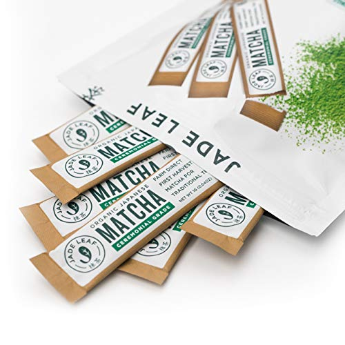 Jade Leaf Matcha Green Tea Powder - Organic Ceremonial Single Serve Stick Packs (100 count)