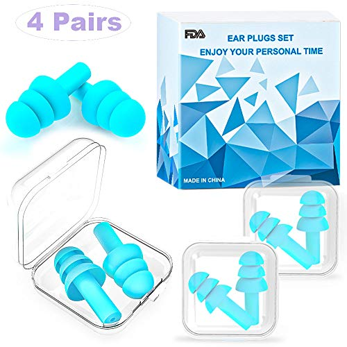 Ohrstöpsel für Schlafen - Weiche Silikon-Ohrstöpsel, die das Schnarchen blockieren - Wiederverwendbare Ohrstöpsel zur Geräuschreduzierung zum Schnarchen Schwimmen und Arbeitsreisen (4 Paar&Blau)