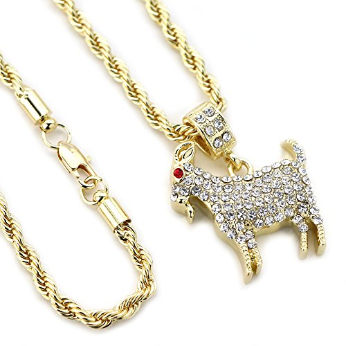 Hip Hop Iced Out Kodak Black Goat Pendant w/ 24' Rope Chain Necklace A1030PG (Gold)