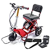 TRIAXE Sport Foldable Electric Mobility Scooter + Cane & Cup Holder - RED