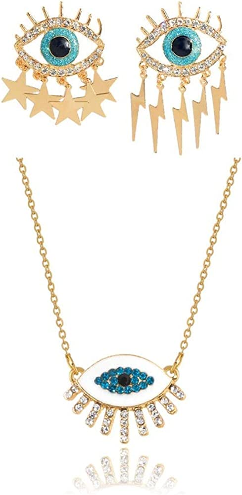 Evil Eye Tassel Dangle Earrings Necklace Set Gold Plated Good Luck Pendant Necklace Cute Blue Sparkling CZ Cubic Zirconia Drop Earrings Dainty Chain Boho Simple Handmade Jewelry Gift