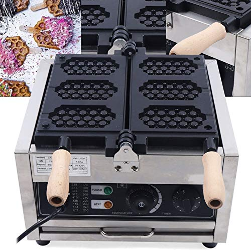 Waffle Maker Brussels Waffles,1500W comercial antiadherente eléctrico 3 piezas Honeycomb Waffle Pop...