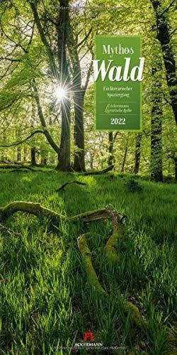 Mythos Wald Kalender 2022, Wandkalender im Hochformat (33x66 cm) - Naturkalender / Literaturkalender mit Zitaten