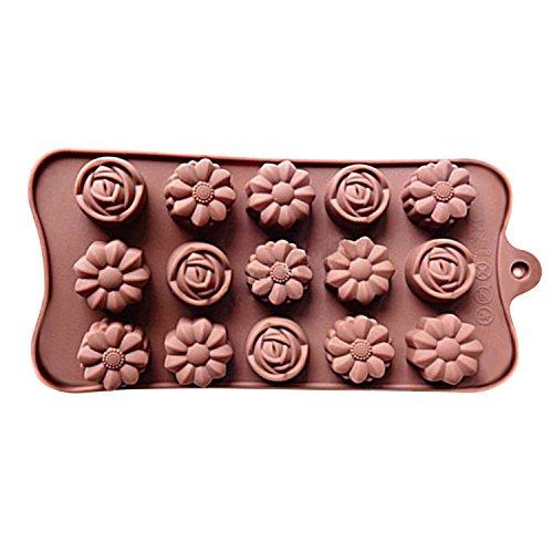 Merssavo Moules a bonbons et chocolat en silicone pour Patisseries Couleur Cafe avec 12 Cavites en forme 3 fleurs differentes Cadeau de Fête des Mères