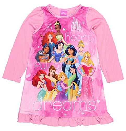 Disney Princess Girls Long Sleeve Nightgown Pajamas (6, Princess Pink)