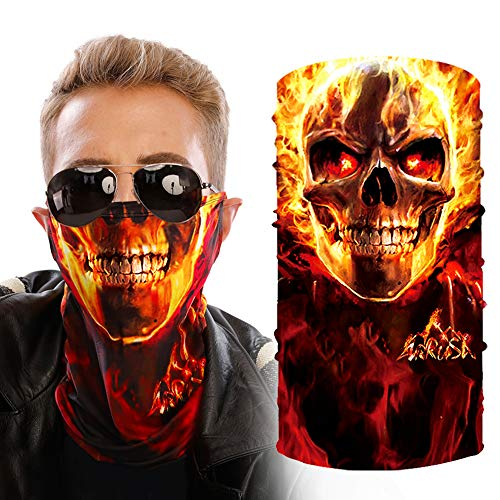 ARRUSA Halloween Mask,Summer Cooling Neck Gaiter Anti-Dust&UV Face Cover Mask Breathable Bandana Scarf for Motorcycle Men&Women Outdoor Sports