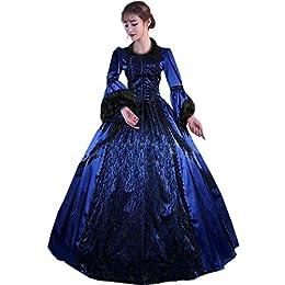 Partiss Women Bowknot Lace Gothic Victorian Fancy Dress