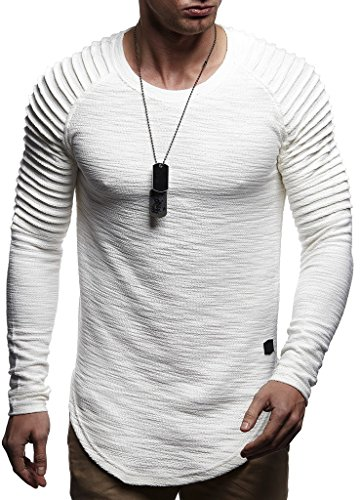 Leif Nelson Herren Rundhals Ausschnitt Langarmshirt Slim Fit Baumwolle-Anteil Basic Männer Longsleeve Pulli weißes Sweatshirt Biker Pullover Crew Neck T-Shirt Langarm LN8310 Ecru Medium