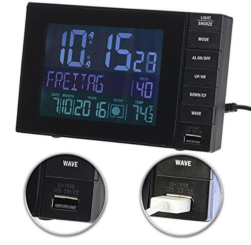 infactory Funkwecker mit Netzteil: Funkwecker mit Temperatur-Anzeige, USB-Ladestation (2 A), 2 Weckzeiten (DCF Uhr)