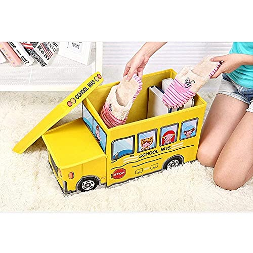 SC Mart Household Storage Stool Kids Bus Large with Home Decor Books, Game, Baby Cloth Foldable Non-Woven Car Creative Cartoon Children's Cartoon Storage Box Multiple Styles (1-Multicolor)