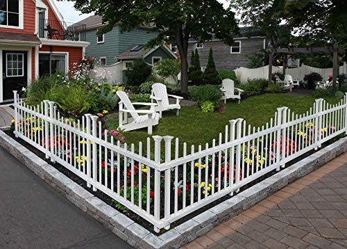 Zippity Outdoor Products ZP19048 Washington No-Dig Picket Fence, White