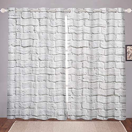 Feelyou Brick Wall Curtains Photo Brick Wallpaper Window Curtains for Bedroom Living Room Modern Couple Chic Wall Art Cover Gray White Room Decoration,52 X 90 Inch,2 Panels