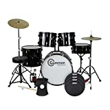 Gammon Full Size Adult 5 Piece Drum Set with Cymbals, Black and SoundOff by Evans Drum Mute Pak, Standard SoundOff by Evans Hi-Hat Mute, 14 Inch