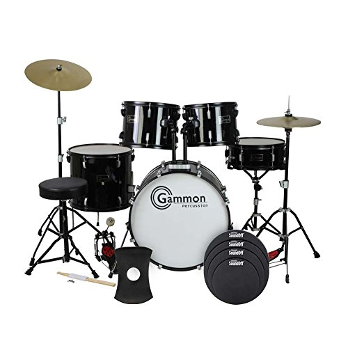 Gammon Full Size Adult 5 Piece Drum Set with Cymbals, Black and SoundOff by Evans Drum Mute Pak,...
