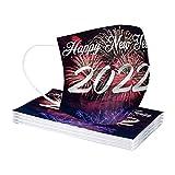 50 Stück 2022 Happy New Year Briefdruck Mundschutz Erwachsene Einweg Atmungsaktive Mundbedeckung mit Motiv Mund-Nasenschutz Bandana Halstuch Schals für Herren Damen (01, 10PCS)